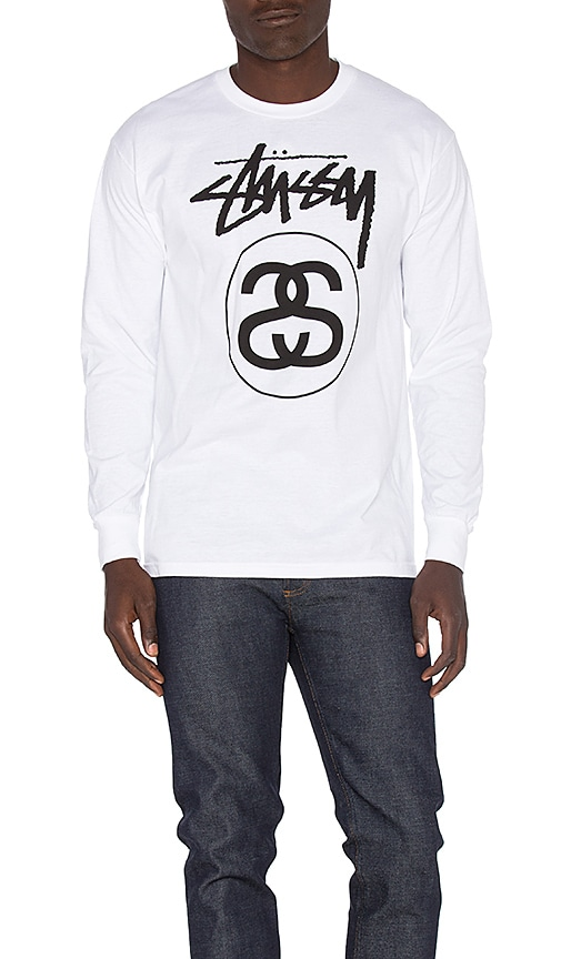 Stussy Stock Link L/S Tee in White