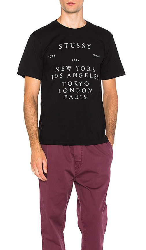 Stussy World Touring Tee in Black & White