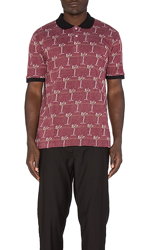 Stussy Martini Jacquard Polo in Burgundy