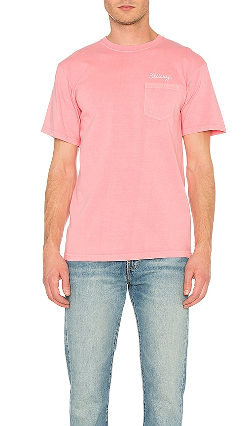 Stussy Stitch Tee in Pink