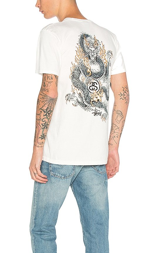 Stussy Fire Dragon Tee in White