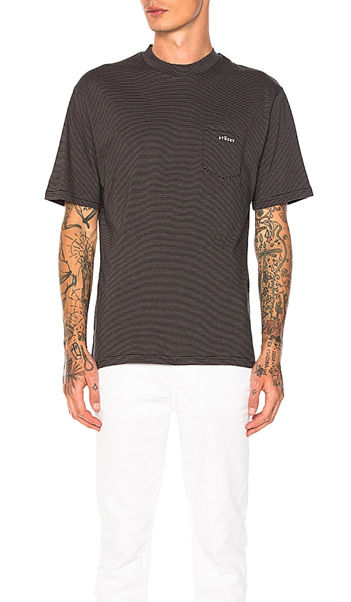 Stussy Mini Stripe Crew Tee in Charcoal