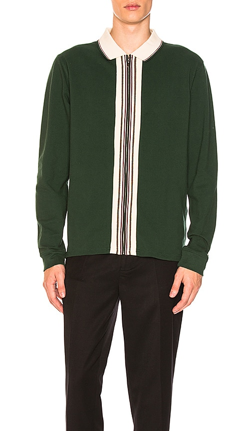5f87c3fca2562 Stussy Full Zip Long Sleeve Polo in Forest