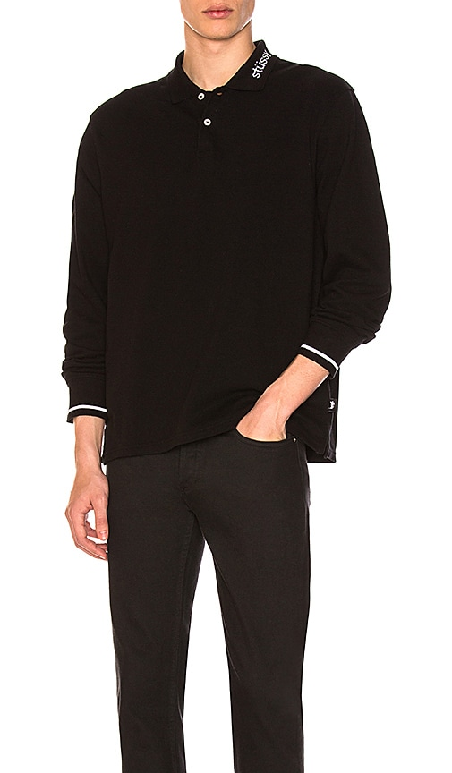 Stussy Heavy Pique Long Sleeve Polo in Black