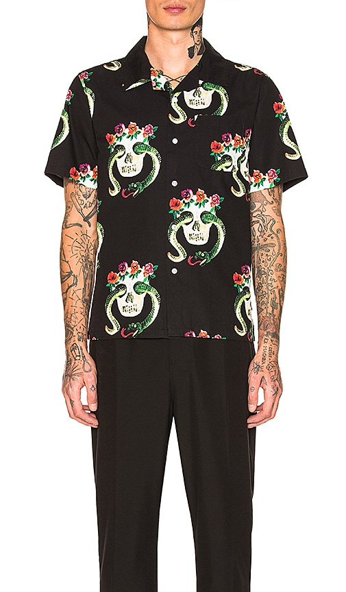 Stussy Skull Pattern Shirt in Black