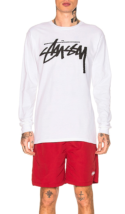 Stussy Old Stock Long Sleeve Tee in White