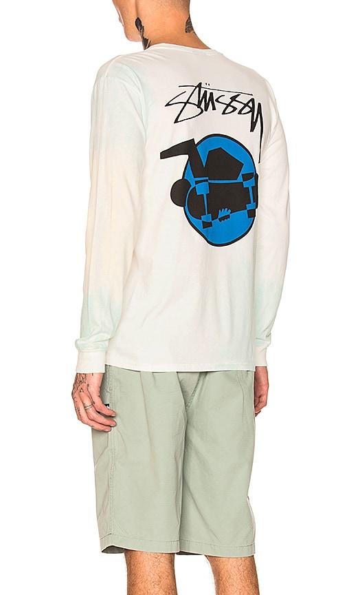 Stussy Skate Man Long Sleeve Tee in White