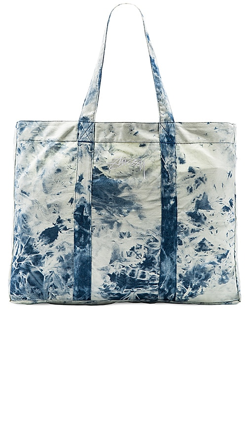 Stussy Acid Wash Beach Tote Bag in Blue