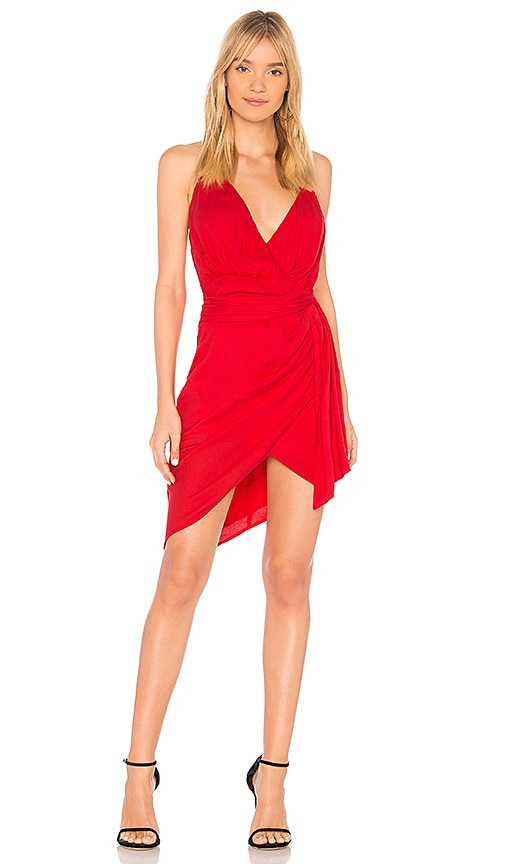 STYLESTALKER Dacey Draped Dress in Red