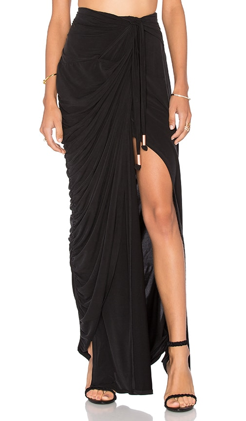 STYLESTALKER Echoes of Love Maxi Skirt in Noir