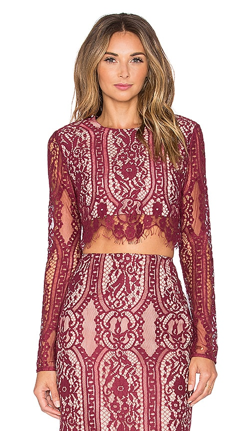 STYLESTALKER Vivid Crop Top in Rouge