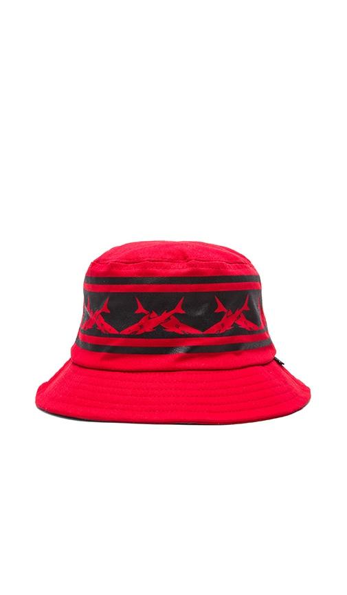 SSUR Caviar Cartel Sharks Crown Bucket Hat in Red