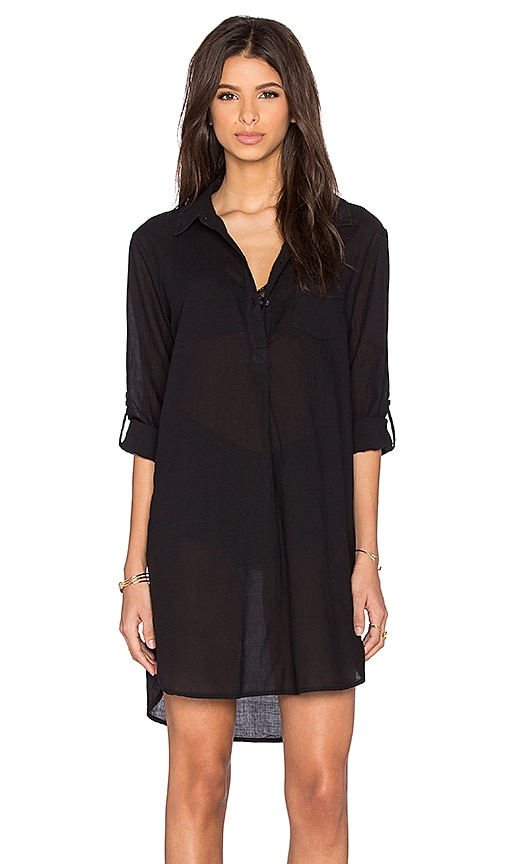 Stateside Vertical Stripe Shirting Shirt Dress in Black