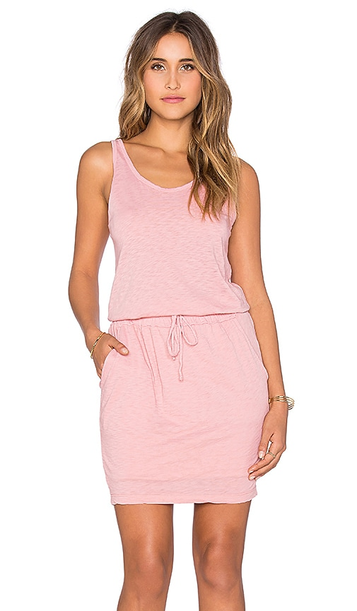 Stateside Royal Supima Jersey Light Drawstring Mini Dress in Coral