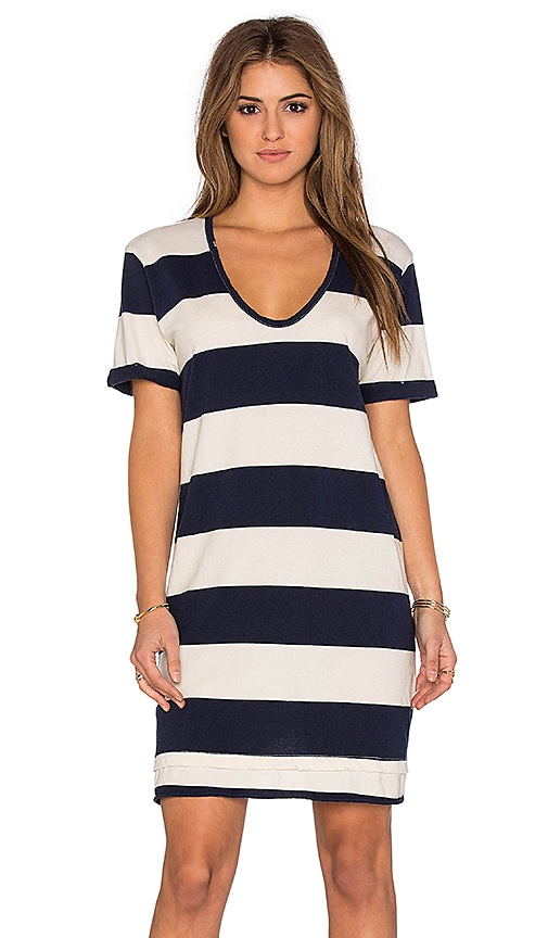 Stateside Large Rugby Stripe Short Sleeve Mini Dress in Navy