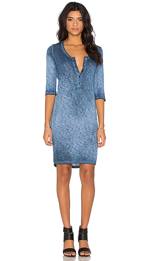 Stateside Oil Wash Supima Slub Jersey 3/4 Sleeve Mini Dress in Blue