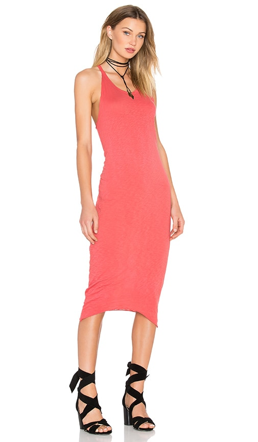 Stateside Supima Slub Jersey Racerback Bodycon Dress in Red