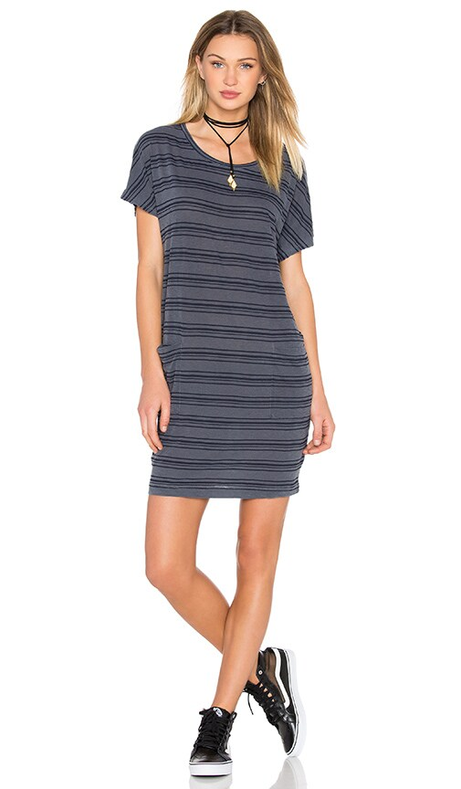 Stateside Stripe Supima Slub Jersey Tee Dress in Gray