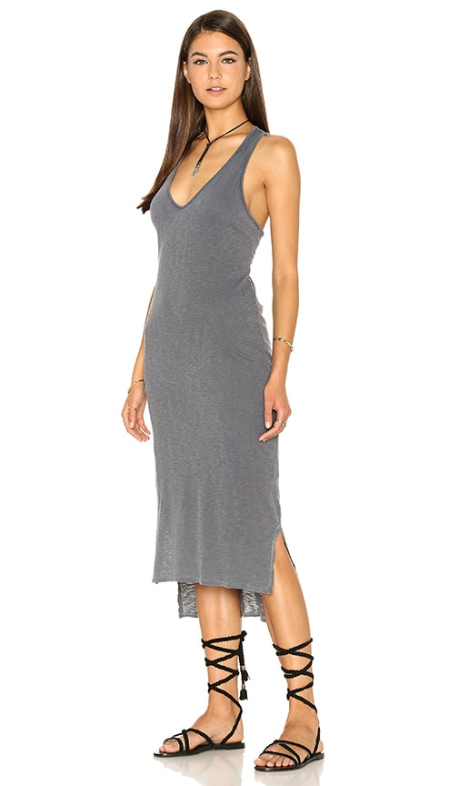 Stateside Supima Slub Jersey V Neck Tank Dress in Grey