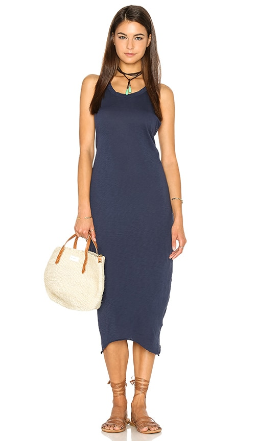 Stateside Supima Slub Jersey Racerback Bodycon Dress in Blue
