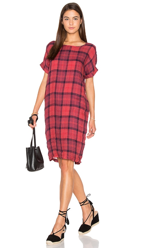 Chambray Plaid Shirting Tee Dress