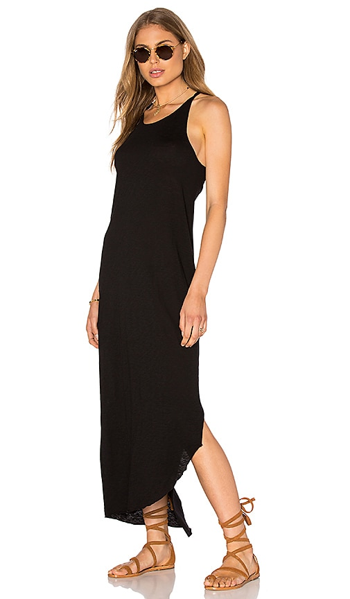Stateside Supima Slub Jersey Scoop Neck Maxi Dress in Black