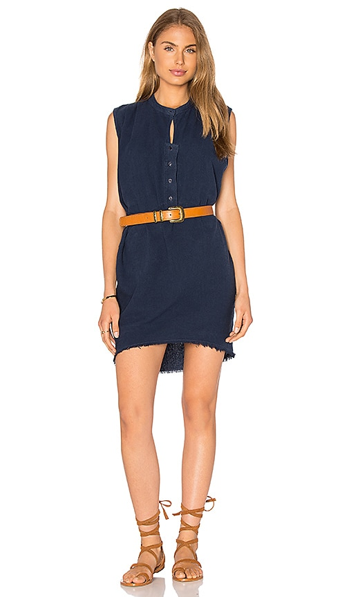 Stateside Silk Noil Sleeveless Mini Dress in Blue