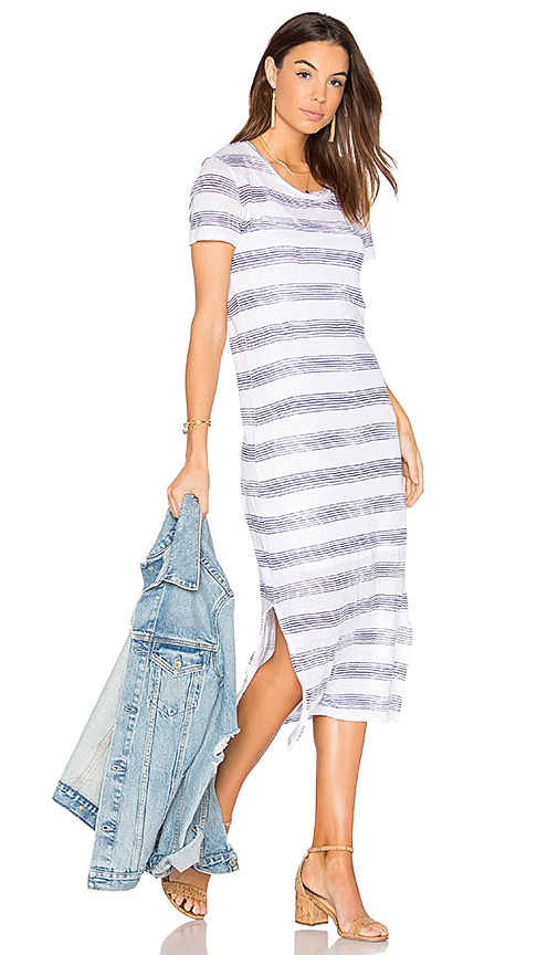 Stateside Linen Jersey T Shirt Midi Dress in White