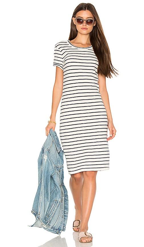 Stateside Navy Cream Stripe T Shirt Dress in White