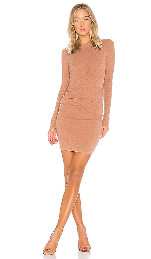 Stateside Slub 2X1 Rib Dress in Tan