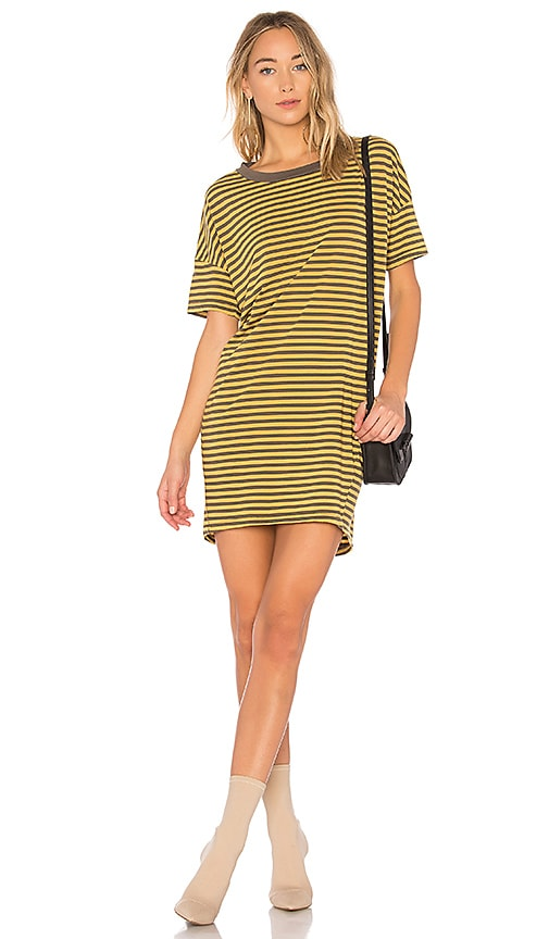 Stateside Mustard Stripe Dress in Green