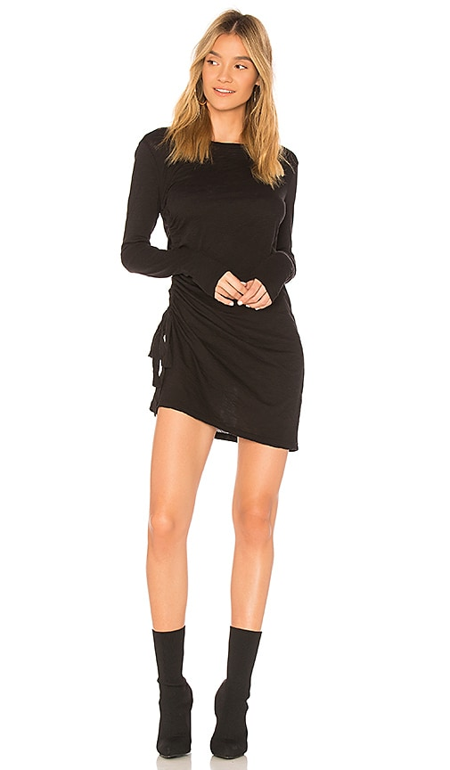 Stateside Supima Slub Jersey Ruched Dress in Black