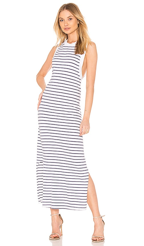 Stateside Striped Crew Neck Tank Dress in White