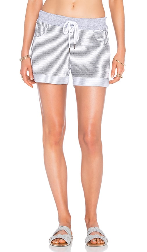 Stateside Skinny Heather Grey Stripe French Terry Short in Gray