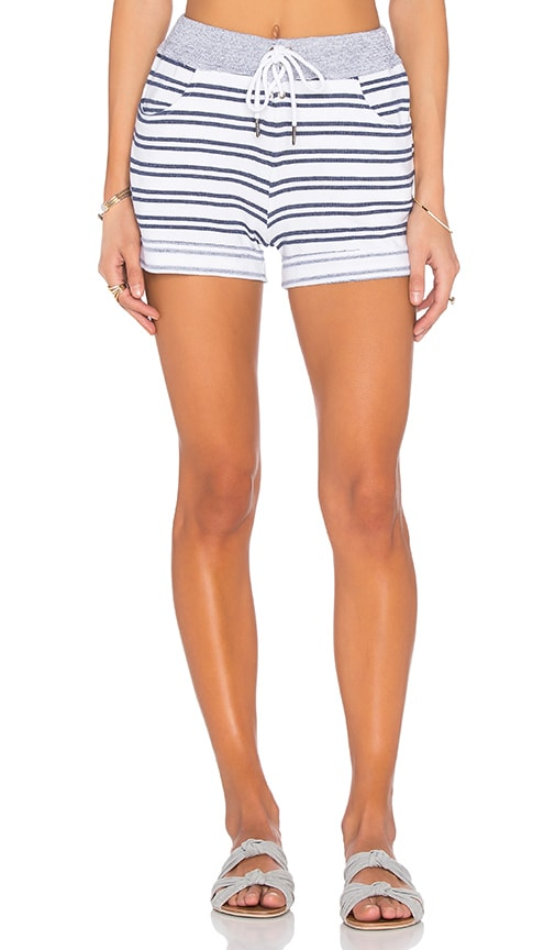 Navy Stripe French Terry Short