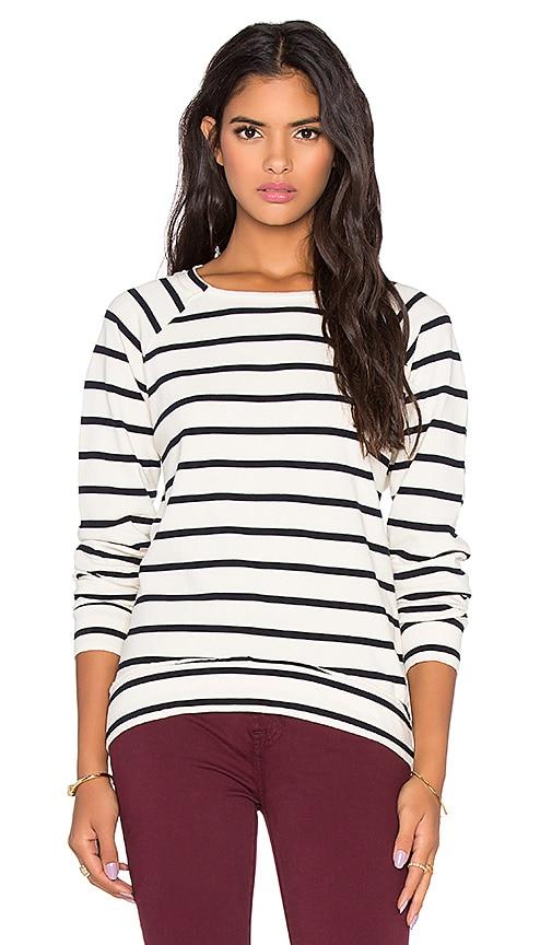 Stateside Crew Neck Stripe Sweatshirt in Natural