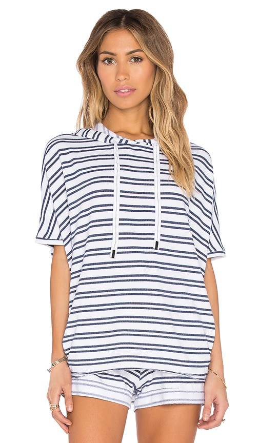 Stateside Navy Stripe French Terry Short Sleeve Hoodie in Navy