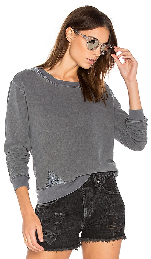 Stateside French Terry Sweatshirt with Lace in Charcoal