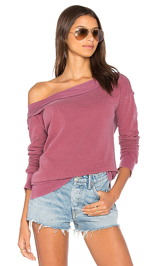 Stateside French Terry Off Shoulder Sweatshirt in Red