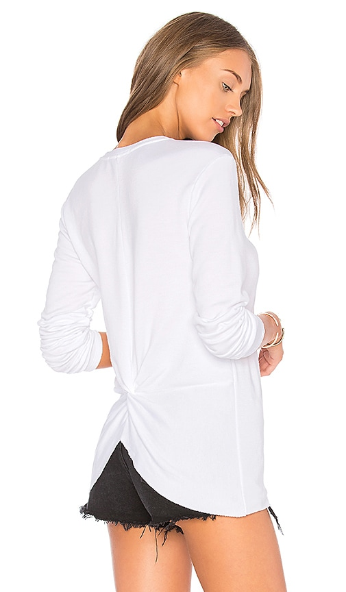 Stateside V Neck Knot Back Pullover in White