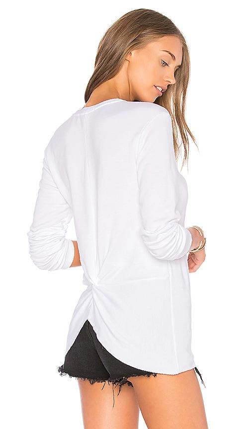 Stateside V Neck Knot Back Pullover in White
