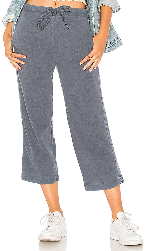 Stateside French Terry Wide Leg Pant in Blue