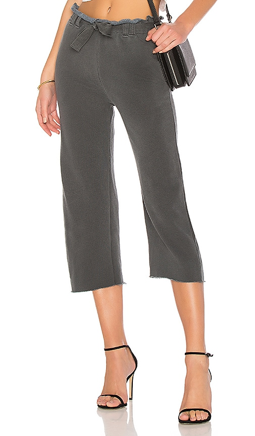 Stateside French Terry Wide Leg Pant in Charcoal