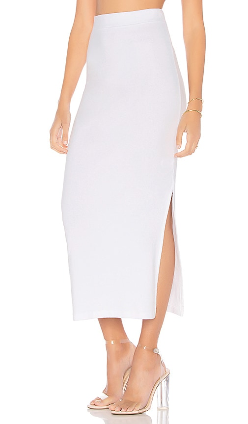 Stateside High Waisted Midi Skirt in White