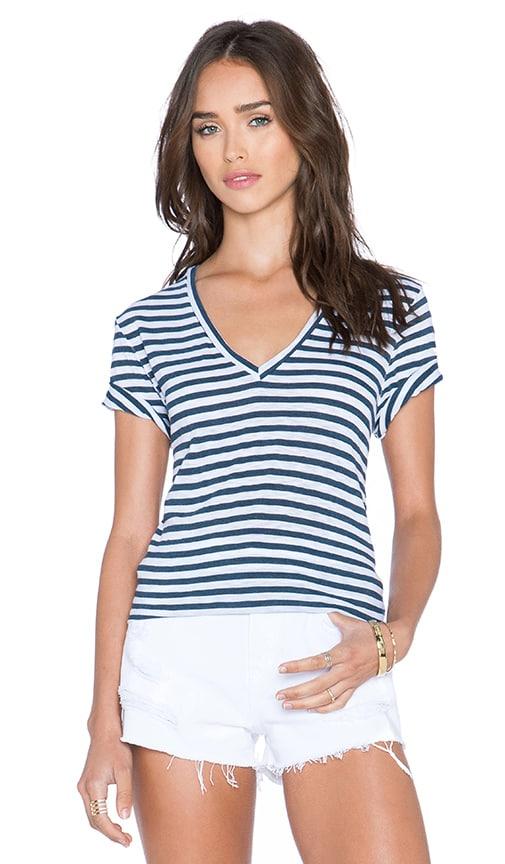 Stateside Navy Classic Stripe V Neck Tee in White