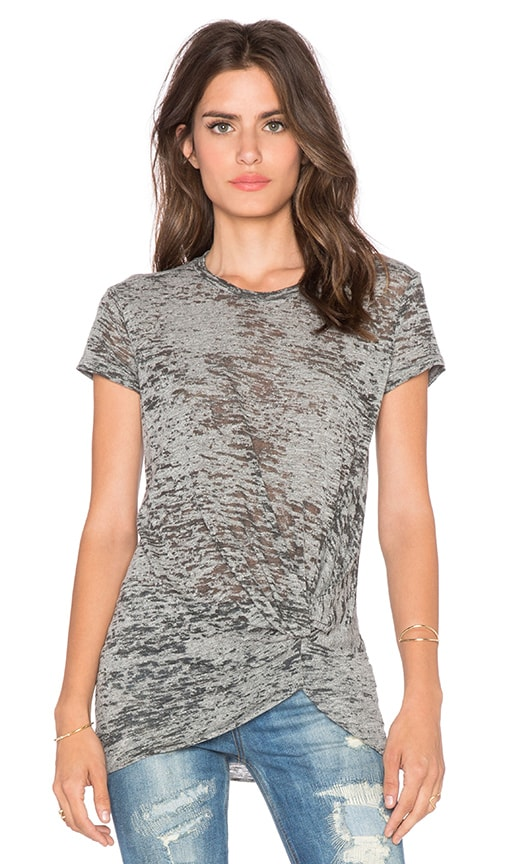 Stateside Burnout Gathered Front Tee in Heather Grey