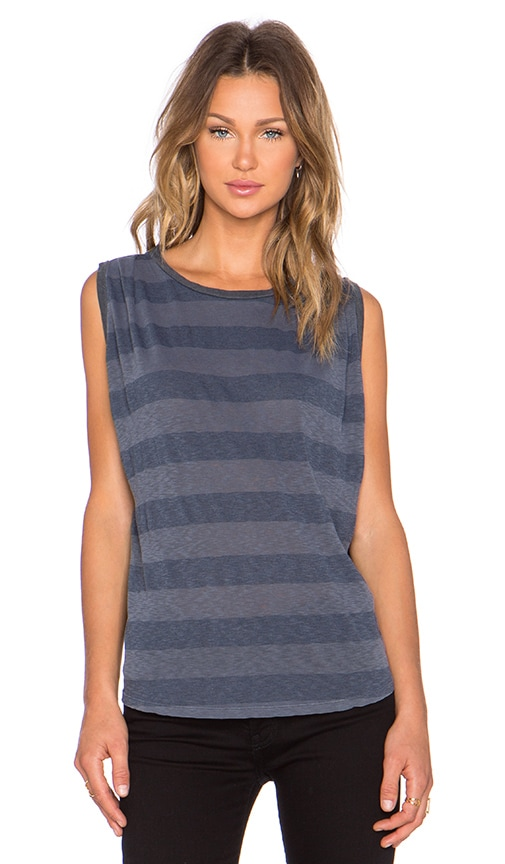 Stateside Rugby Stripe Muscle Tank in Charcoal