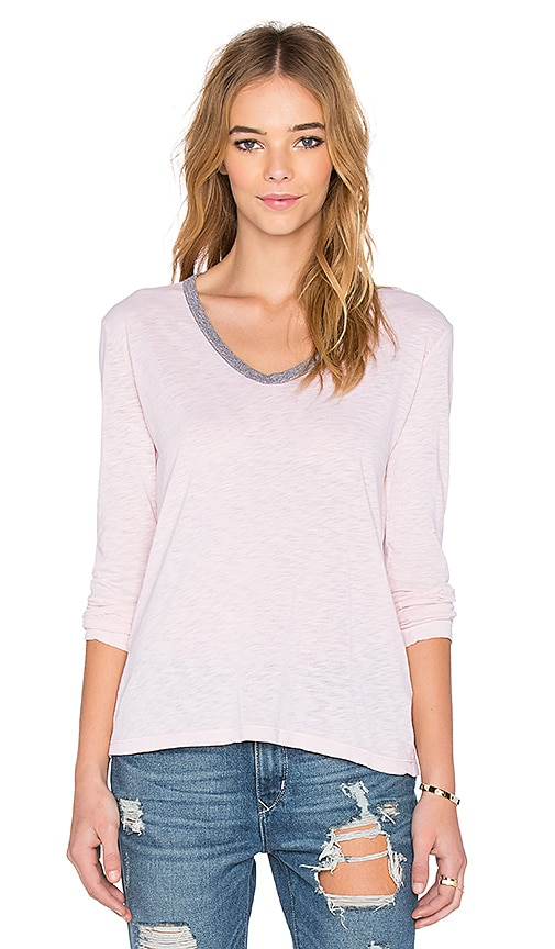Stateside Long Sleeve V Neck Tee in Blush