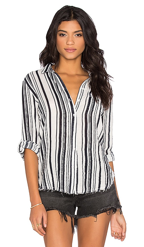Vertical Navy Stripe Veil Long Sleeve Button Up Top