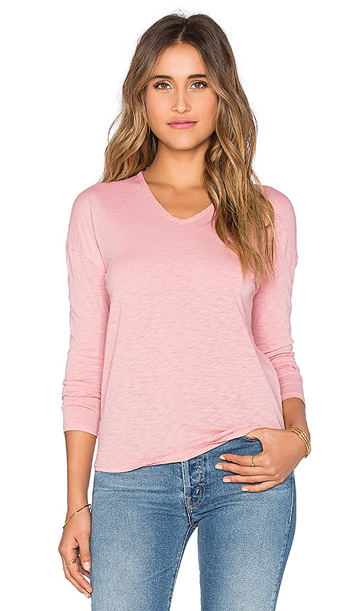 Stateside Bubble Gauze Back Long Sleeve Tee in Coral
